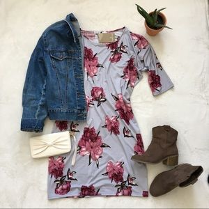 Silver Floral Batwing Dress